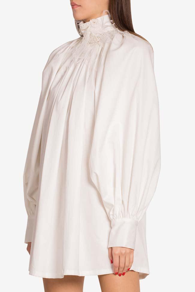 Crystal-embellished cotton-blend poplin mini dress LOOMY image 0