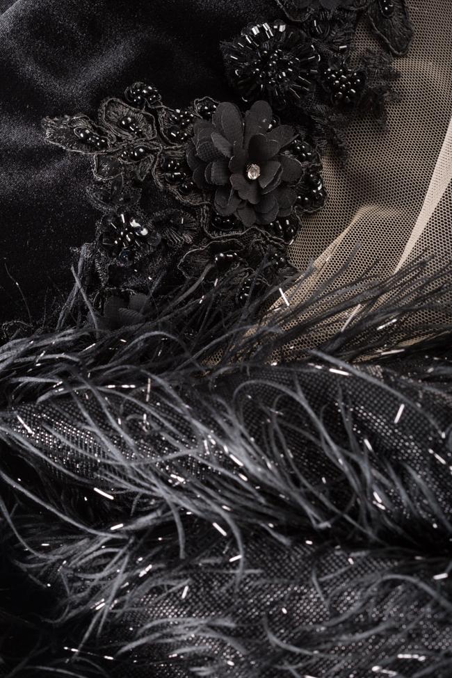 Rochie din catifea cu insertii din tul si franjuri metalizati cu spatele gol Alfabeta imagine 4