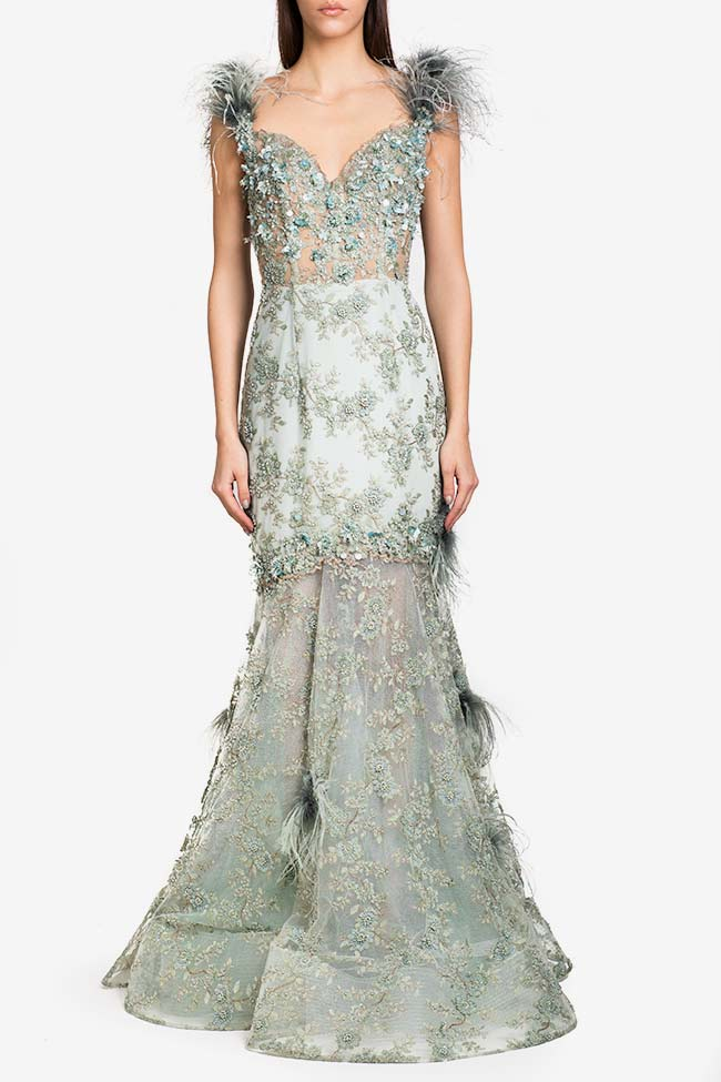 Feather-trimmed embellished tulle gown Alfabeta image 1