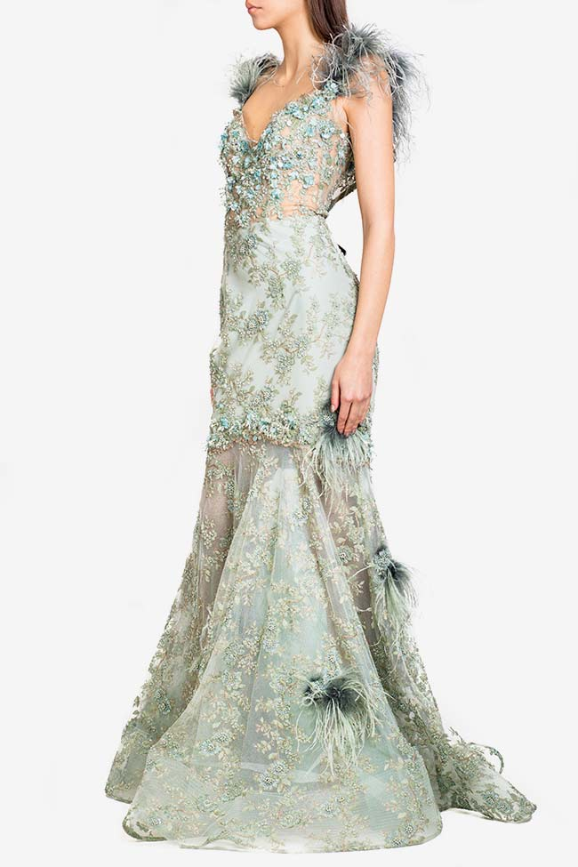 Feather-trimmed embellished tulle gown Alfabeta image 0
