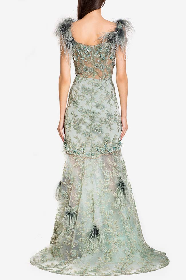 Feather-trimmed embellished tulle gown Alfabeta image 2