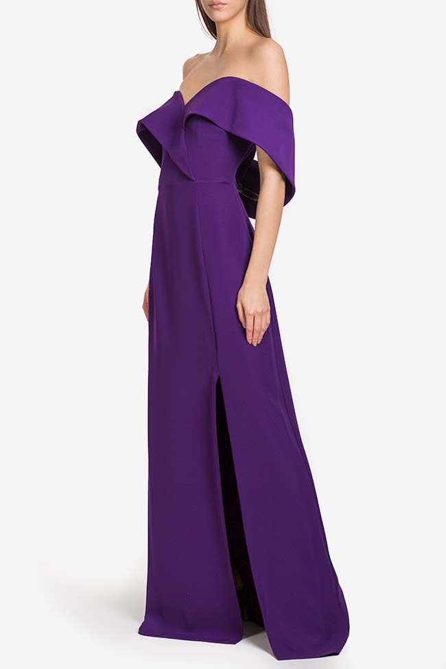 Off-the-shoulders ruffled crepe gown Alfabeta image 0
