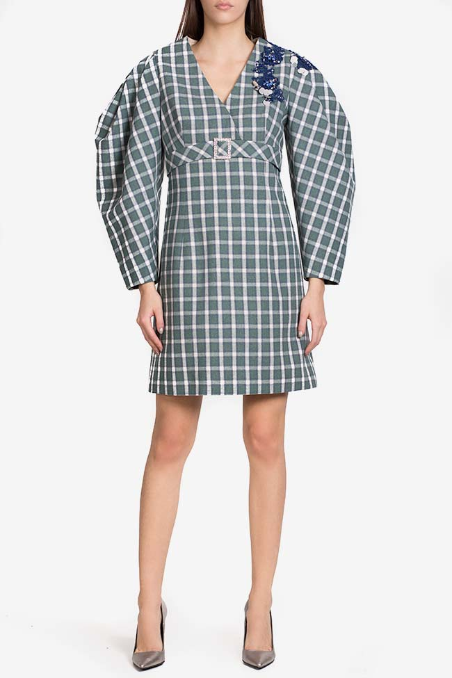 Embellished checked cotton-blend mini dress Exquise image 1