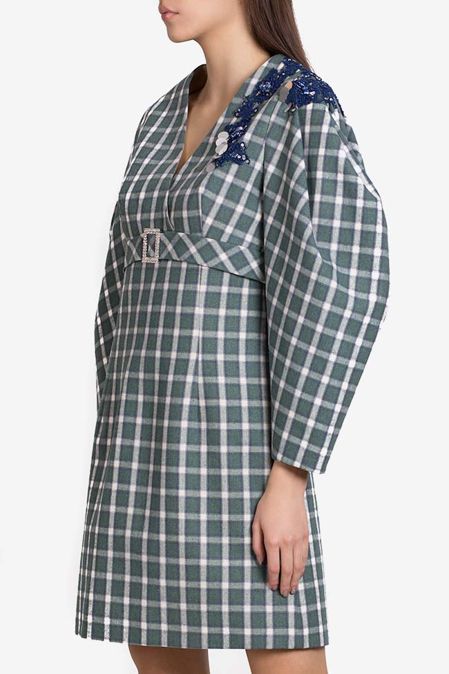 Embellished checked cotton-blend mini dress Exquise image 0