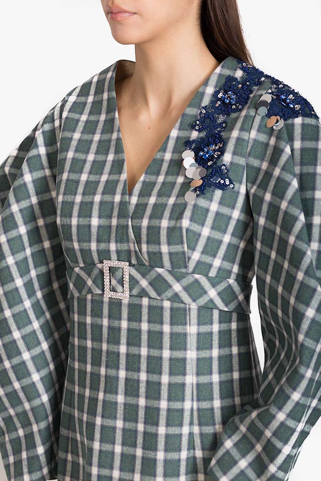 Embellished checked cotton-blend mini dress Exquise image 3