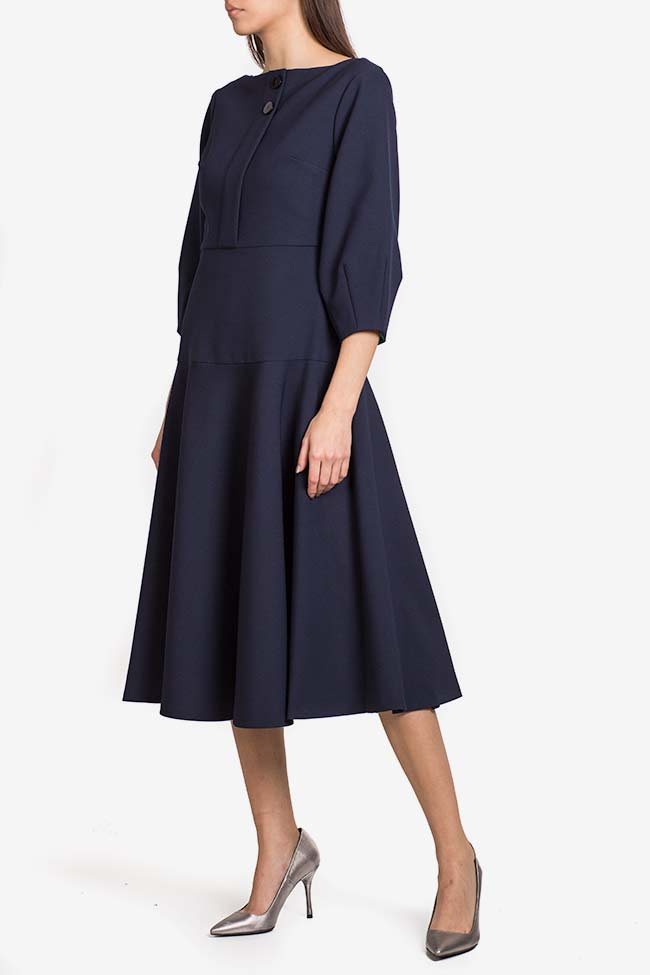 Button crepe midi dress Exquise image 0