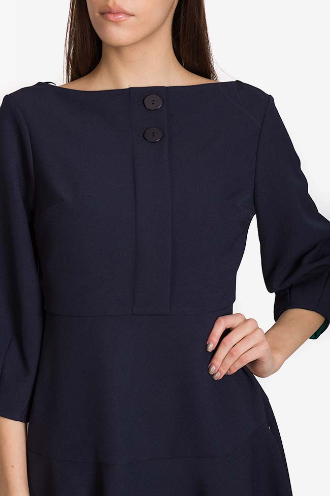 Button crepe midi dress Exquise image 3