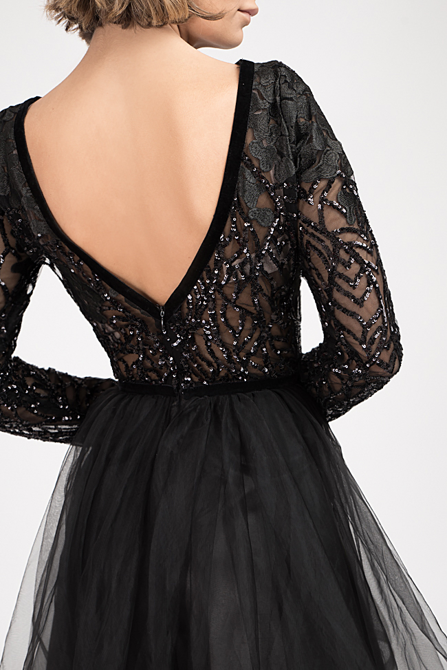 Embellished lace and tulle mini dress Bien Savvy image 3