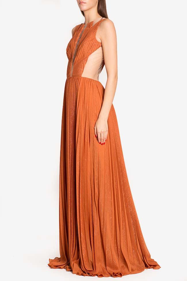 Robe en voile plissé avec empiècements de tulle Verona Maia Ratiu image 0