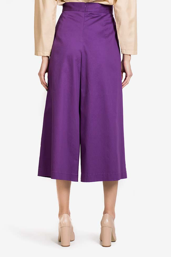 Purple cotton-blend wide-leg pleated cullotes Carmina Cimpoeru image 2