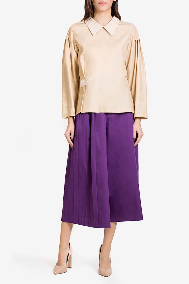 Purple cotton-blend wide-leg pleated cullotes Carmina Cimpoeru image 1
