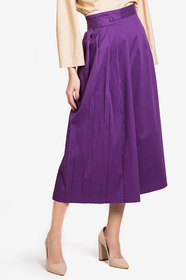 Purple cotton-blend wide-leg pleated cullotes Carmina Cimpoeru image 0