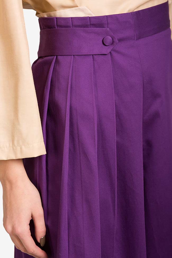 Purple cotton-blend wide-leg pleated cullotes Carmina Cimpoeru image 3