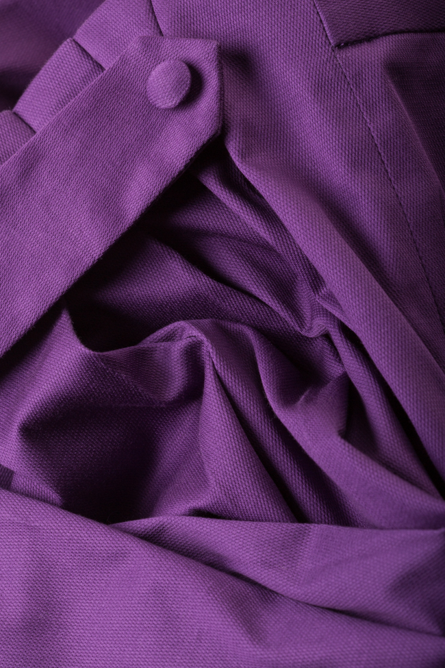 Purple cotton-blend wide-leg pleated cullotes Carmina Cimpoeru image 4