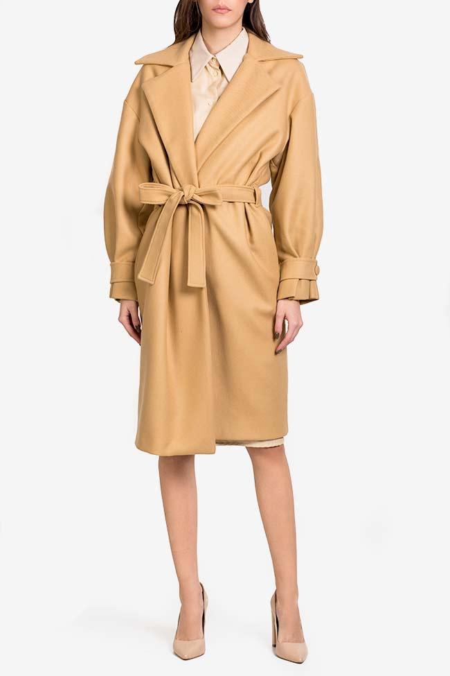 Palton din stofa de lana cu pliseuri Camel Carmina Cimpoeru imagine 1