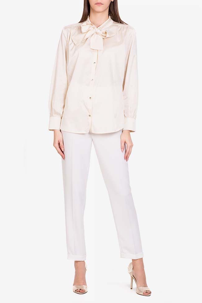 Pussy-bow silk-blend cotton shirt  Acob a Porter image 1
