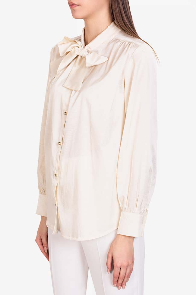 Pussy-bow silk-blend cotton shirt  Acob a Porter image 0