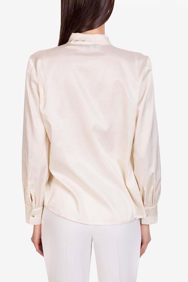 Pussy-bow silk-blend cotton shirt  Acob a Porter image 2