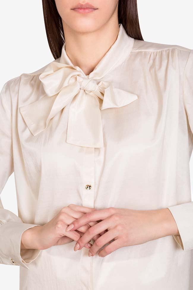 Pussy-bow silk-blend cotton shirt  Acob a Porter image 3