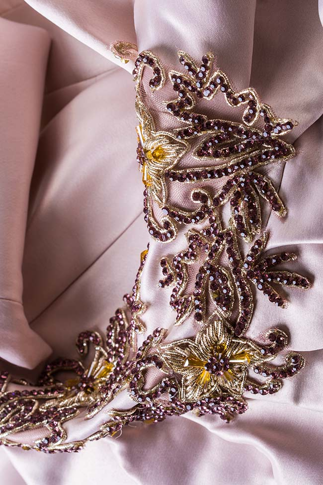 Rochie asimetrica din tafta cu aplicatii din cristale Bianca VIGO imagine 4