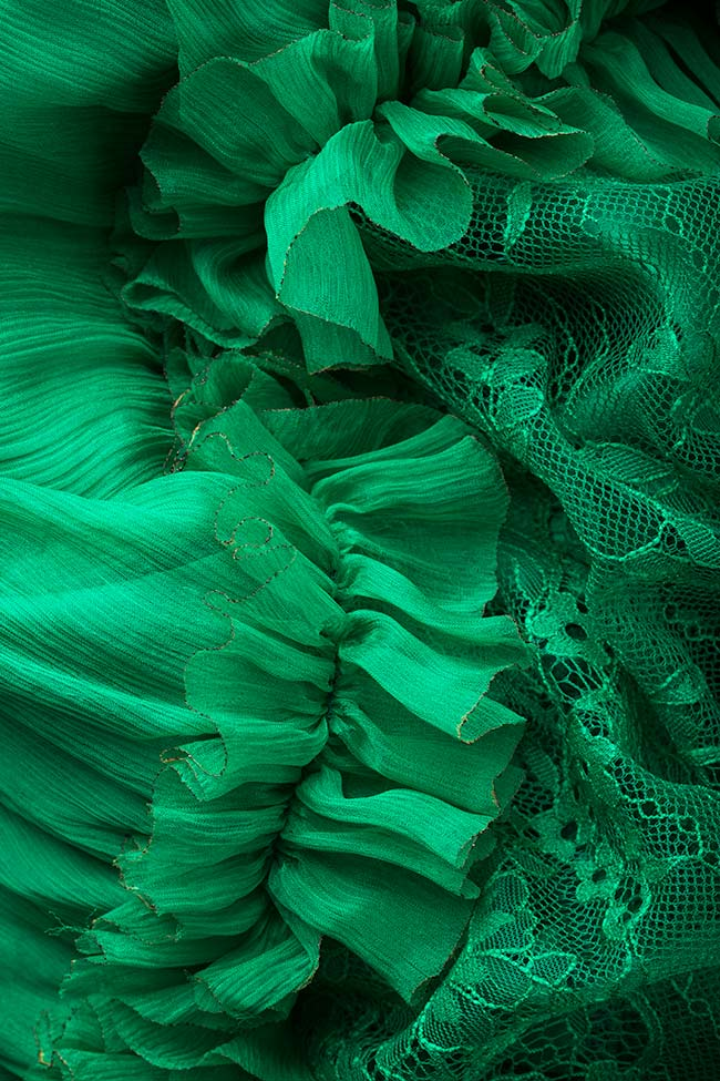 Rochie din voal de matase cu insertii din dantela Emerald VIGO imagine 4