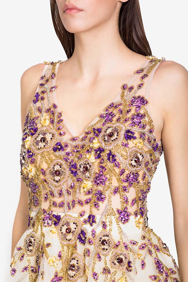Rochie din tul cu aplicatii din perle si cristale Swarovski Kloe VIGO imagine 3