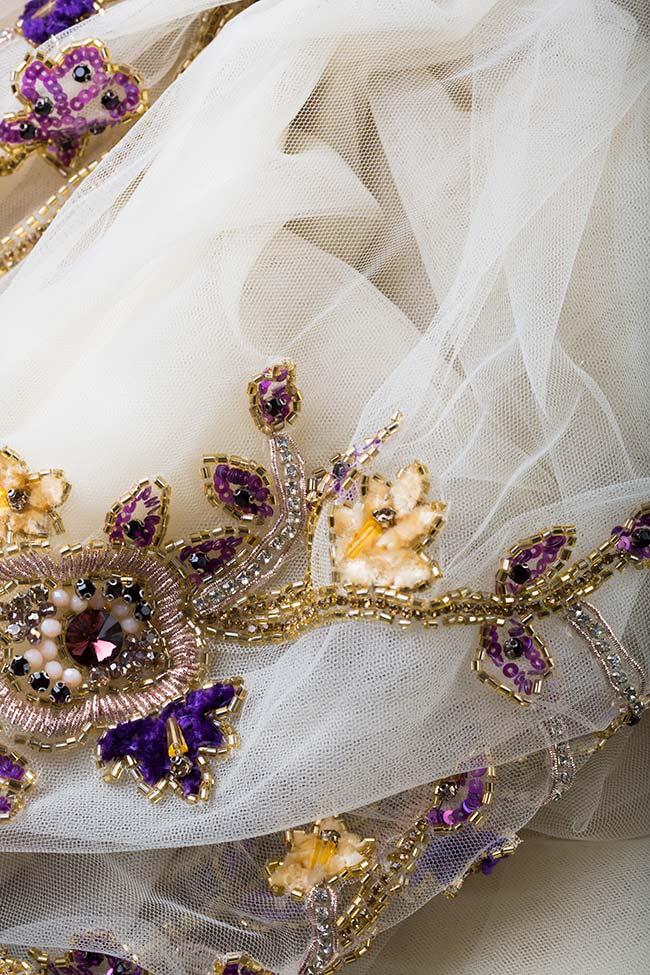 Rochie din tul cu aplicatii din perle si cristale Swarovski Kloe VIGO imagine 4