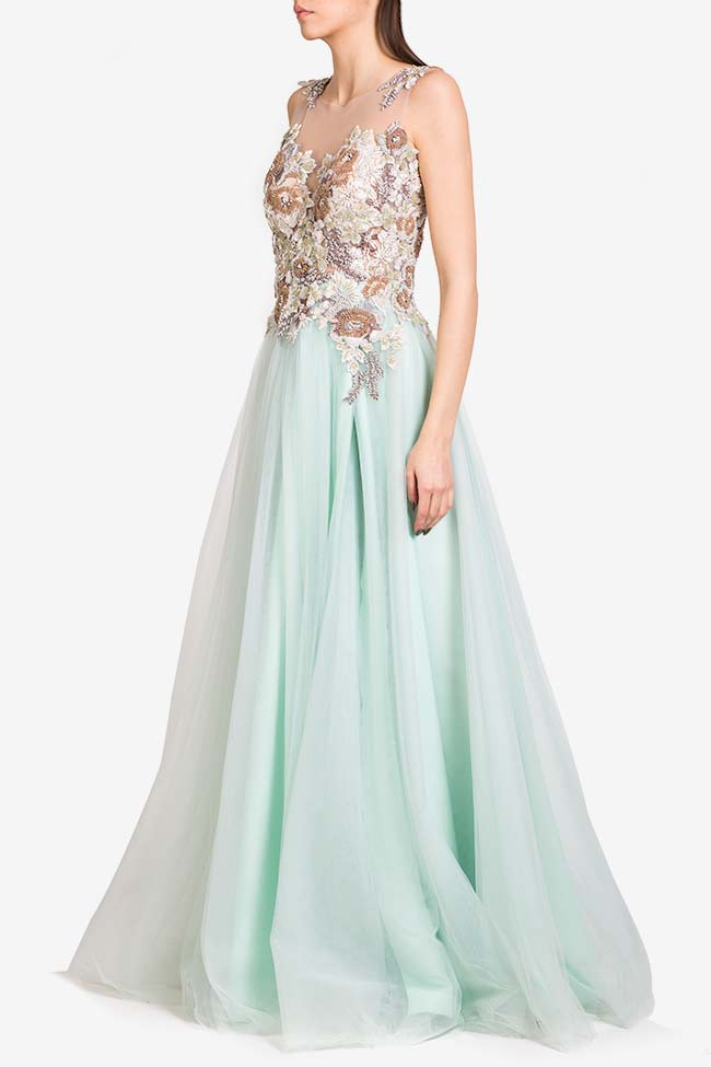 Irene crystals embellished tulle and lace gown VIGO image 0