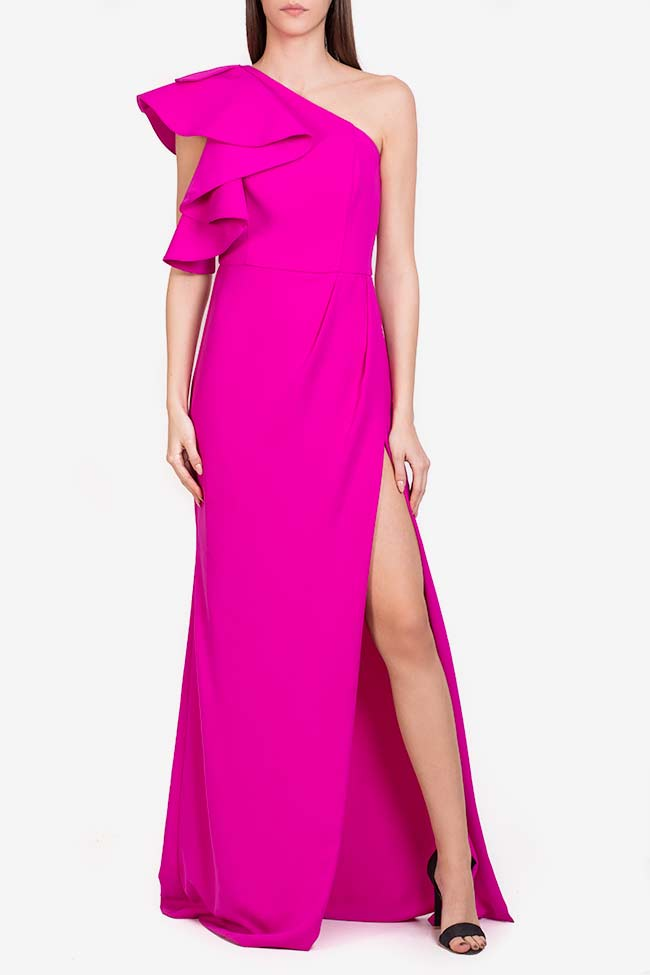 Maxine ruffled italian crepe gown M Marquise image 1