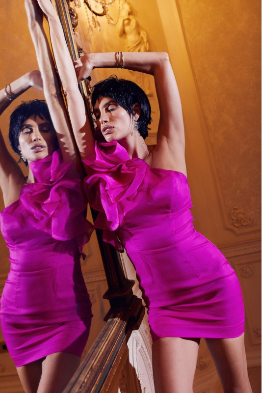 Molly Mini ruffled silk mini dress M Marquise image 4