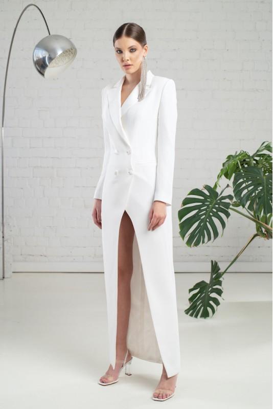 Gina italian crepe tuxedo maxi dress M Marquise image 4