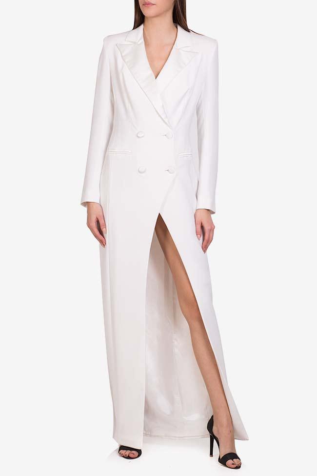 Gina italian crepe tuxedo maxi dress M Marquise image 1