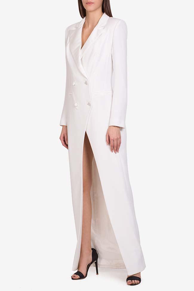 Gina italian crepe tuxedo maxi dress M Marquise image 0