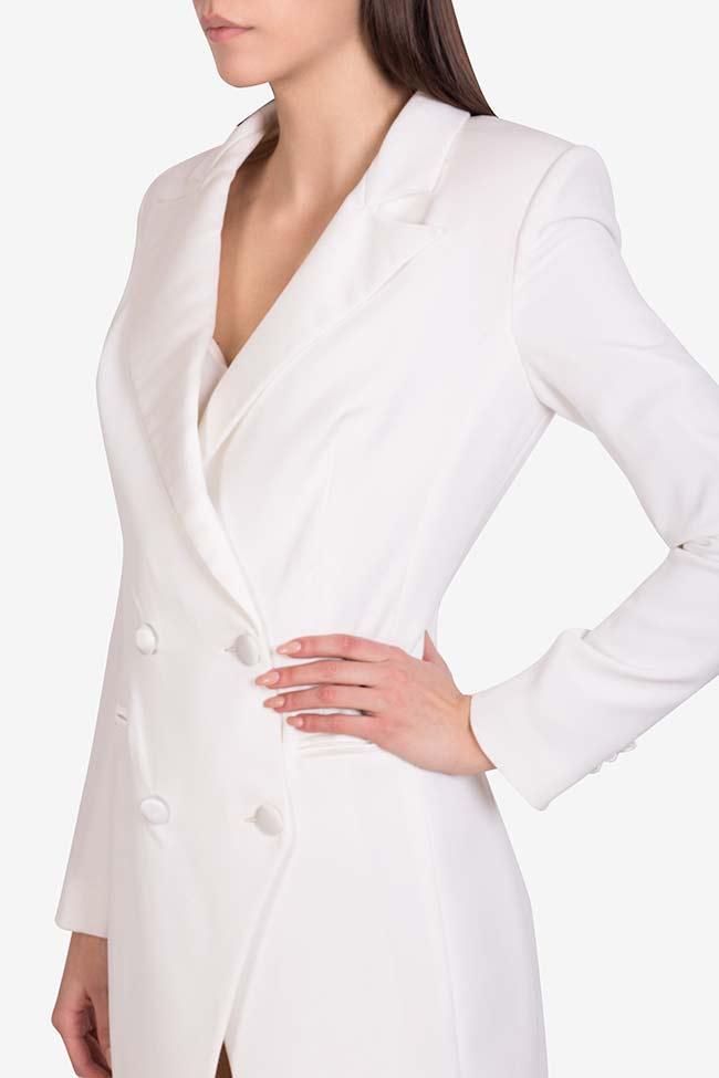 Gina italian crepe tuxedo maxi dress M Marquise image 3