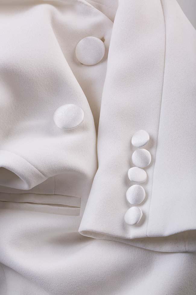 Gina italian crepe tuxedo maxi dress M Marquise image 5