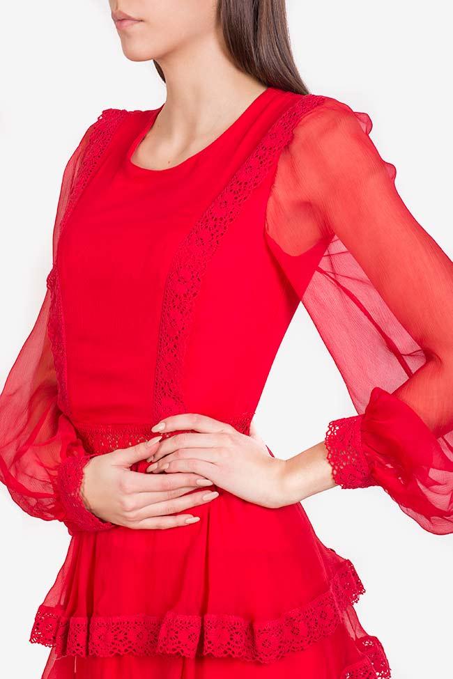 Robe en voile de soie avec empiècements de dentelle macramé Izabela Mandoiu image 3