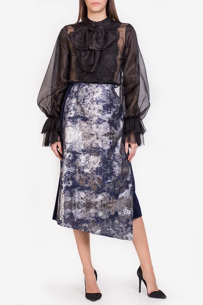 Asymmetric jacquard panel cotton-velvet midi skirt Izabela Mandoiu image 1