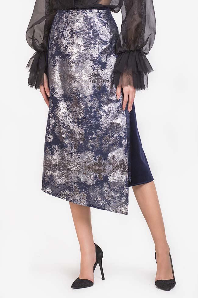 Asymmetric jacquard panel cotton-velvet midi skirt Izabela Mandoiu image 0