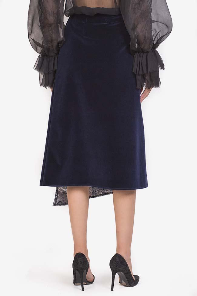 Asymmetric jacquard panel cotton-velvet midi skirt Izabela Mandoiu image 2