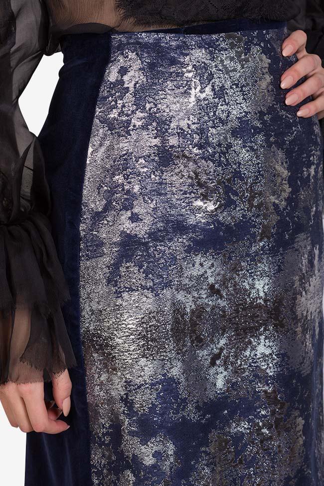 Fusta din catifea de bumbac cu panou asimetric din jacquard Izabela Mandoiu imagine 3