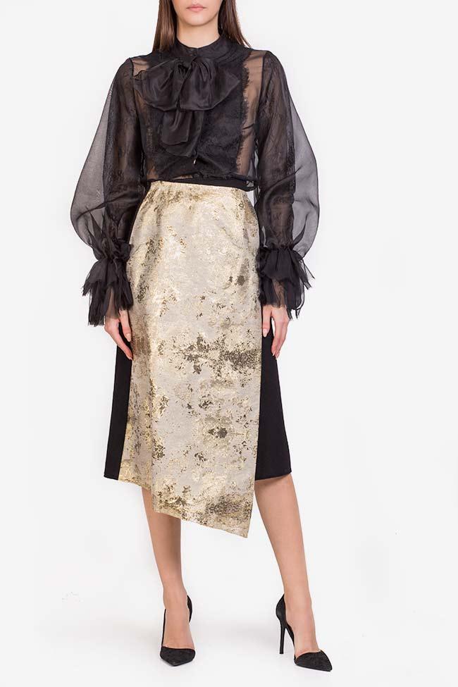 Fusta din stofa de lana cu panou asimetric din jacquard Izabela Mandoiu imagine 1