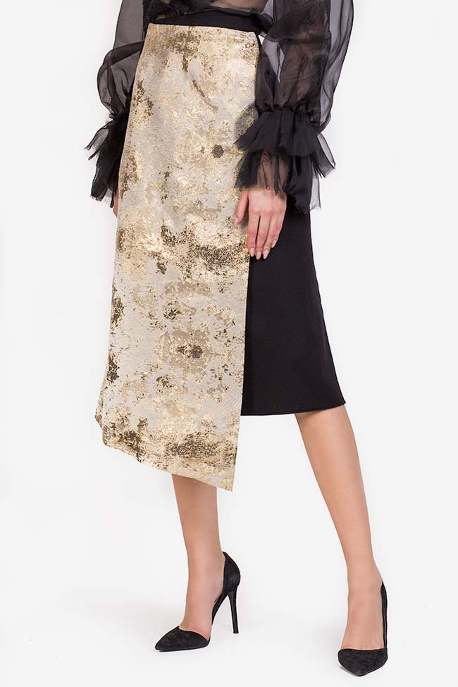 Fusta din stofa de lana cu panou asimetric din jacquard Izabela Mandoiu imagine 0