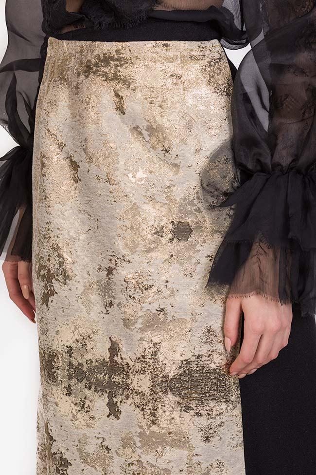 Fusta din stofa de lana cu panou asimetric din jacquard Izabela Mandoiu imagine 2