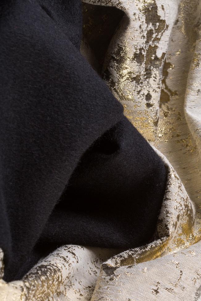 Fusta din stofa de lana cu panou asimetric din jacquard Izabela Mandoiu imagine 3