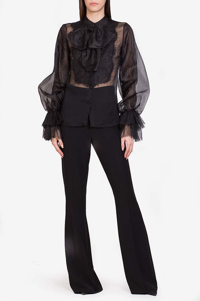 Aylin pussy-bow silk-organza lace-paneled blouse M Marquise image 1