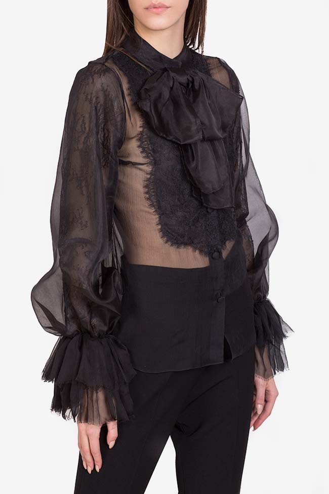Aylin pussy-bow silk-organza lace-paneled blouse M Marquise image 0