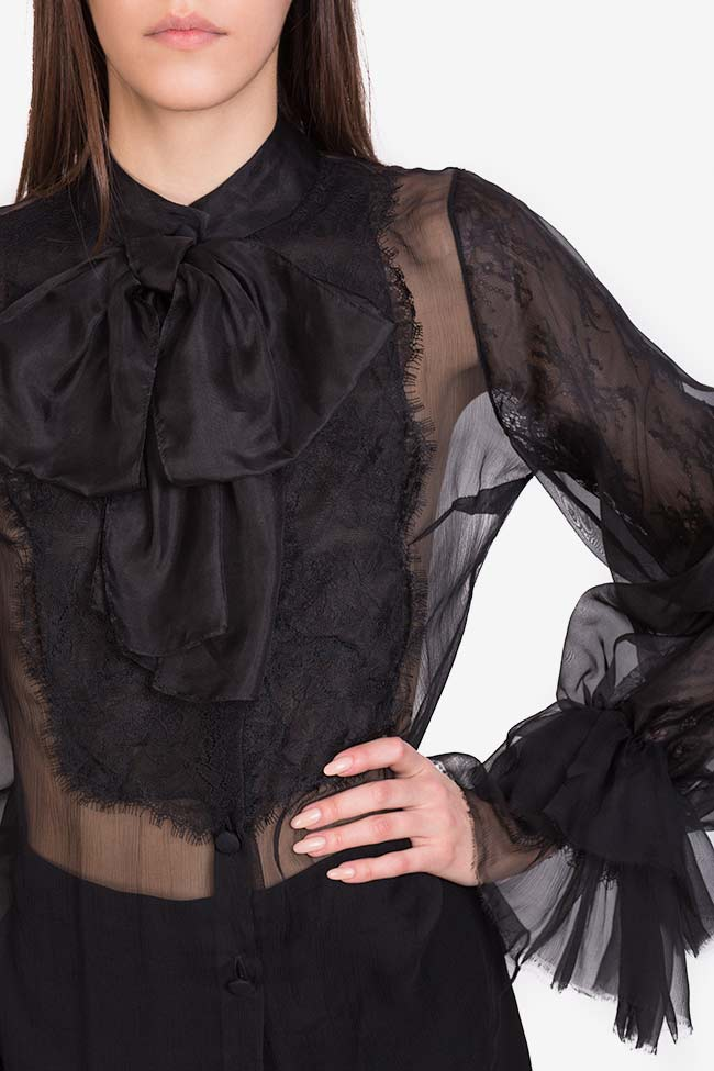 Aylin pussy-bow silk-organza lace-paneled blouse M Marquise image 3