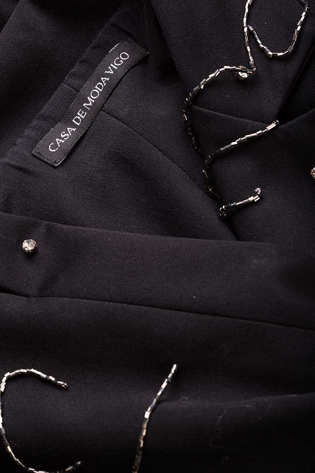 Neagra embellished fringed crepe satin oversized blazer VIGO image 4