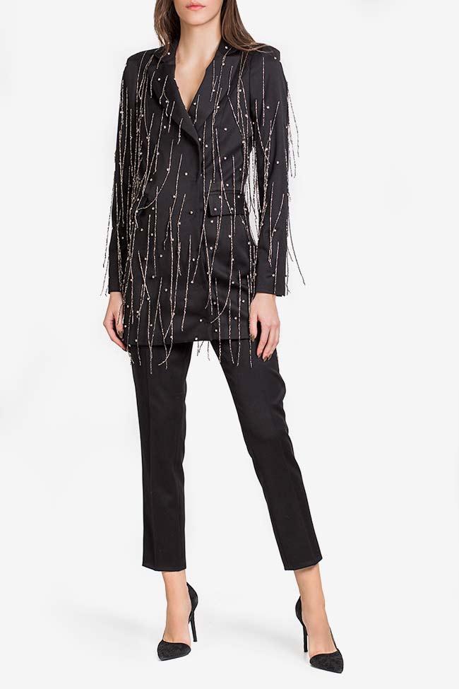 Neagra embellished fringed crepe satin oversized blazer VIGO image 1