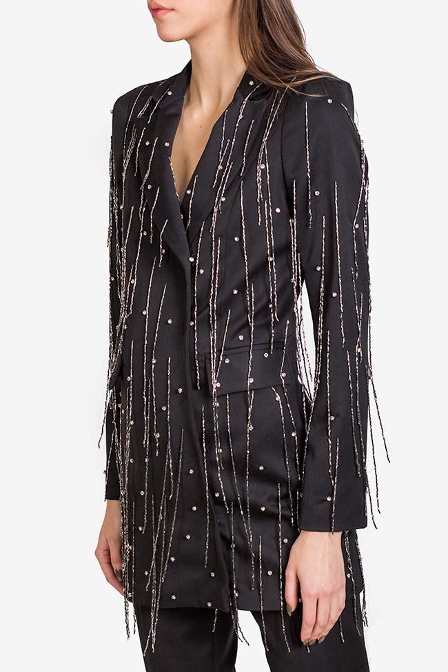 Neagra embellished fringed crepe satin oversized blazer VIGO image 0
